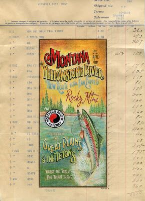Old Paper Art: Fly Fishing on the Yellowstone