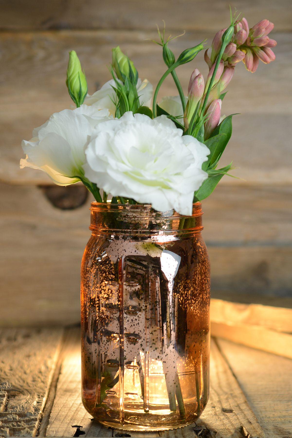 Pink Rose Gold Mercury Glass Mason Jars Wedding Ideas