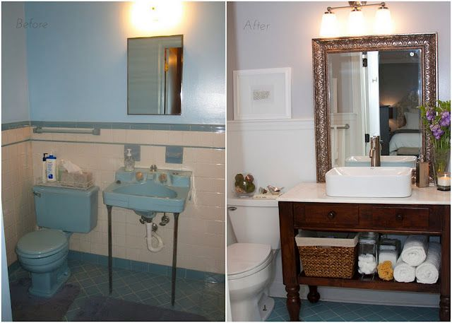 Charmant Bathroom Update To Cover Old Tile. I Dug The Blue Toilet U0026 Sink Though. Not  Going To Lie.