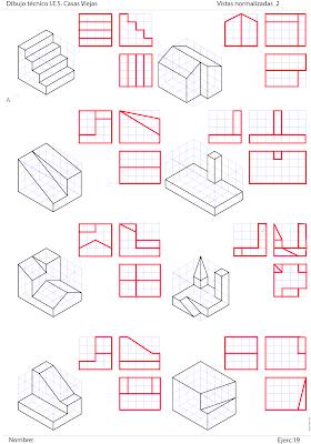 Losmuertosdeldiedrico Vistas Ii 1ºbach Ejercicios De Dibujo Dibujos De Geometria Tecnicas De Dibujo