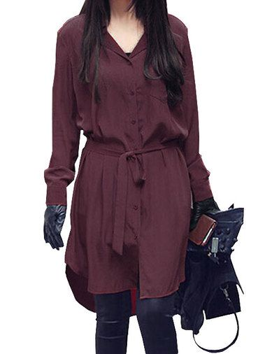 Charming Low Cut Cardigan Solid Color Oversize Long Sleeve Blouse With Belt Red on buytrends.com