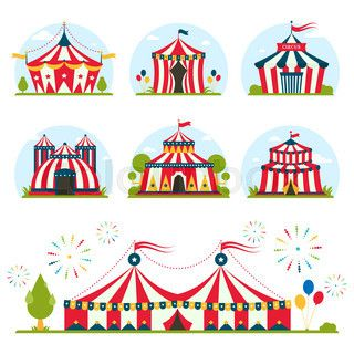 Cartoon circus tent with stripes and flags carnival entertainment amusement lelements flat vector. Circus tents  sc 1 st  Pinterest & Cartoon circus tent with stripes and flags carnival entertainment ...