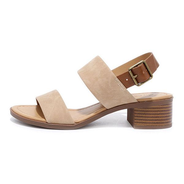 Tulum Trek Camel Heeled Sandals (77 BRL) ❤ liked on Polyvore featuring shoes ,