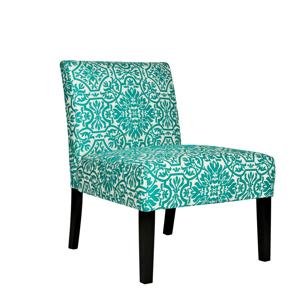 Lovely $145 Angelo:HOME Bradstreet Modern Damask Turquoise Blue Upholstered Armless  Chair | Overstock.com