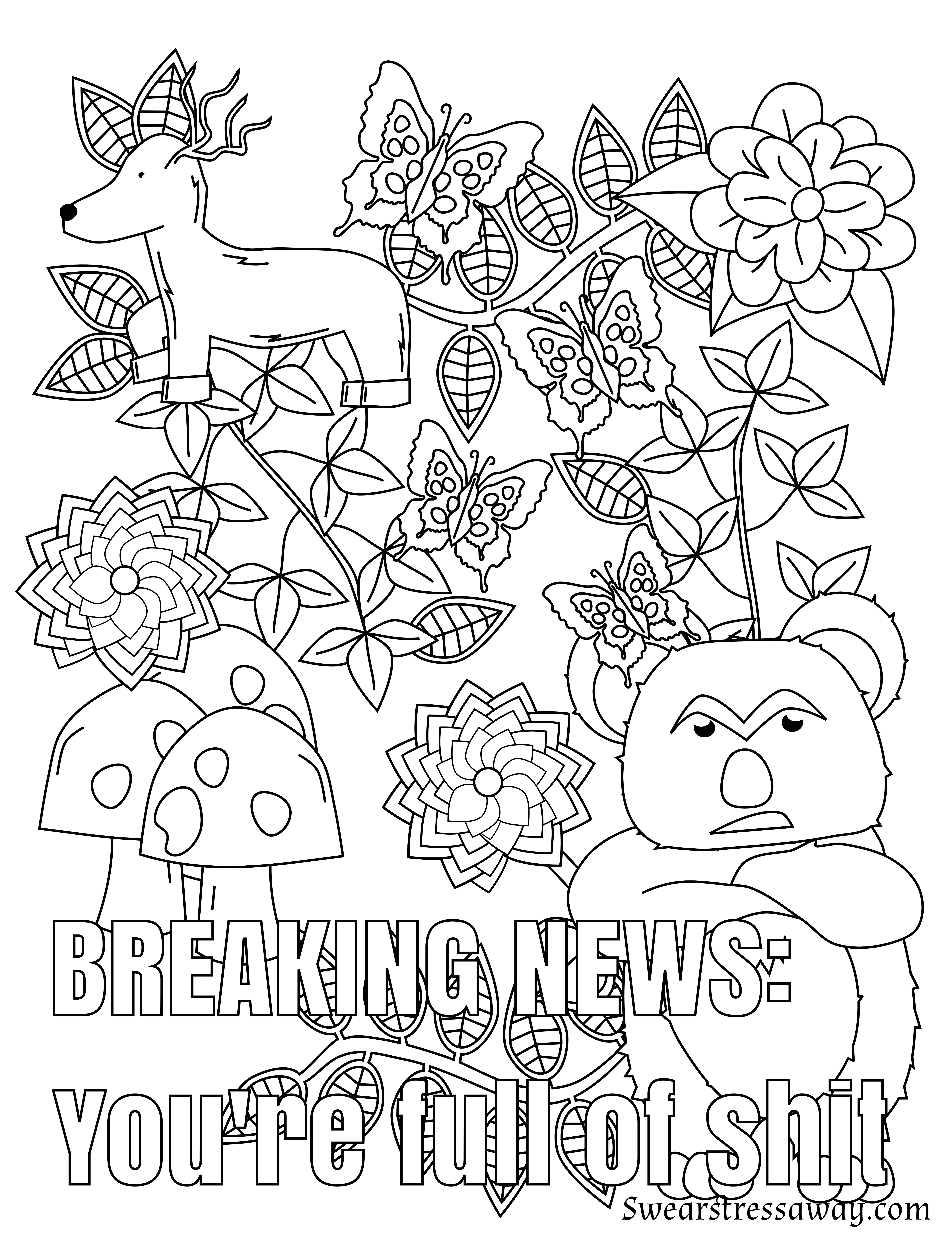 Coloring pages for adults curse words - You Re Full Of Shit Swear Word Coloring Page Adult Coloring Page