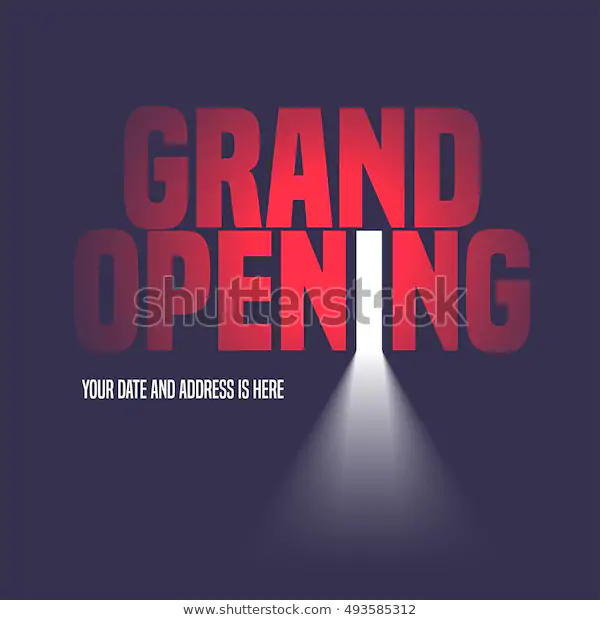 Grand Opening Vector Illustration Background Open Stock Vector Royalty Free 493585312 Social Media Design Graphics Vector Illustration Grand Opening
