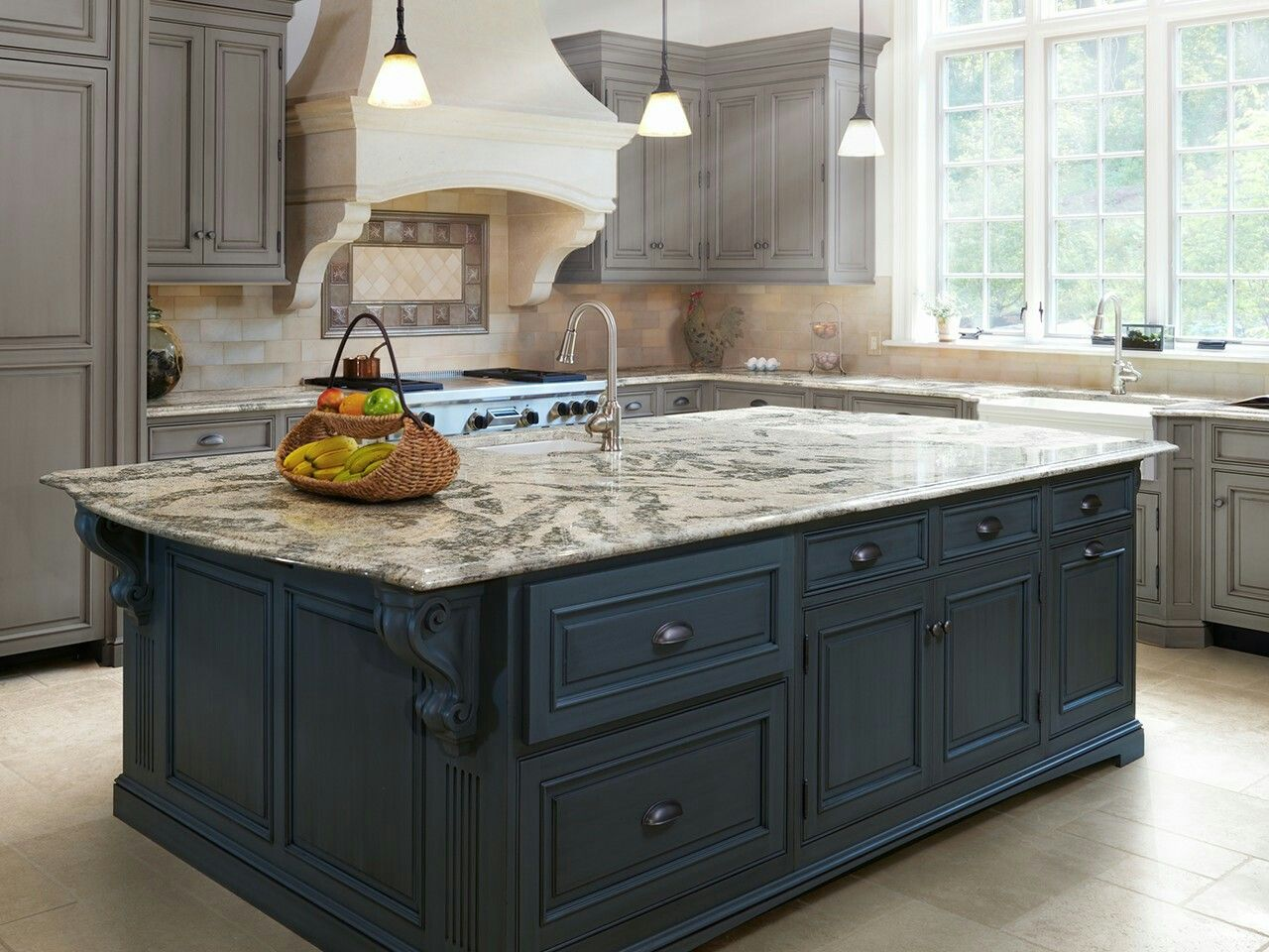 Cambria langdon gray toned cabinets two toned subway tile