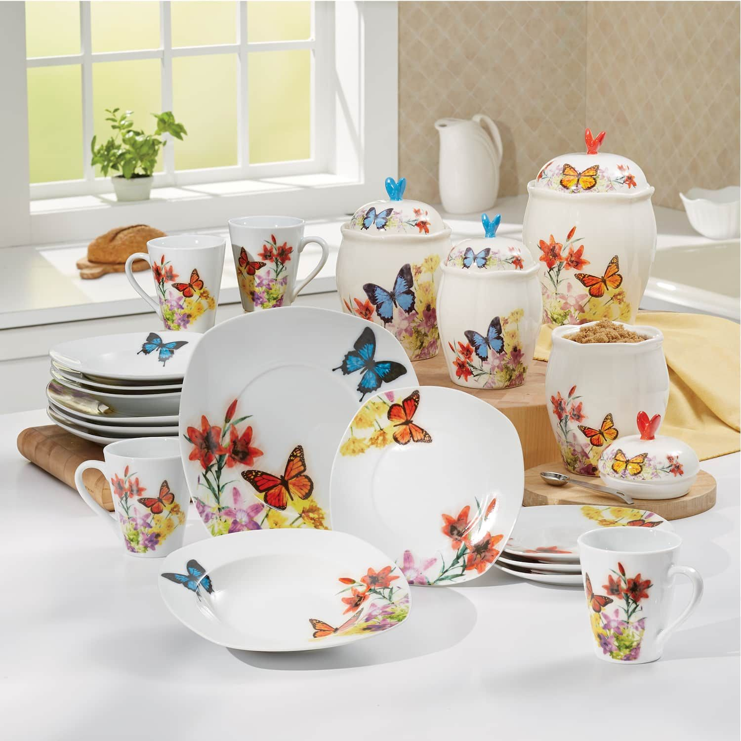 Butterfly Dinnerware Set And Canister Set Seventh Avenue Dinnerware Set Dinnerware Plates And Bowls
