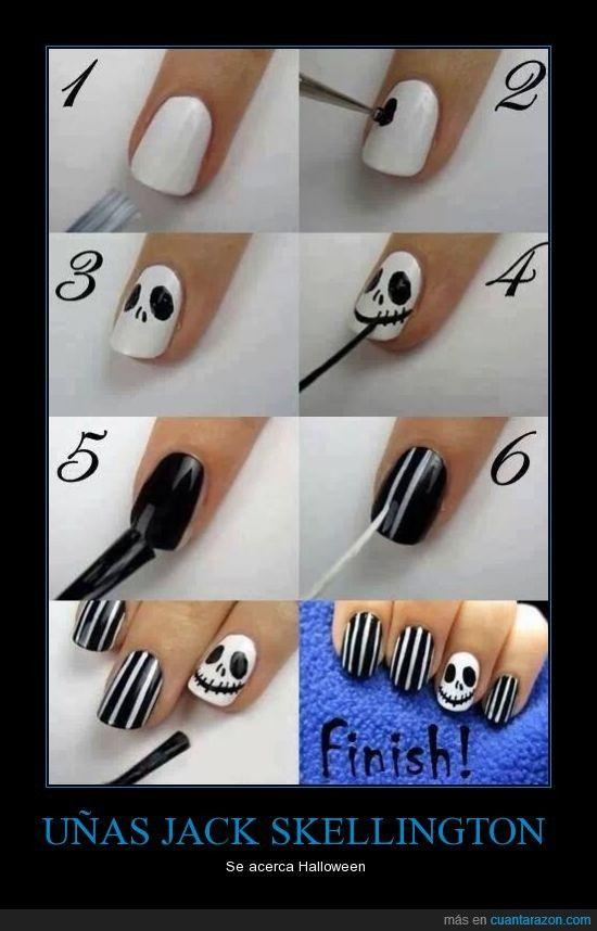 UÑAS JACK SKELLINGTON - Se acerca Halloween | Nails <3 | Pinterest ...