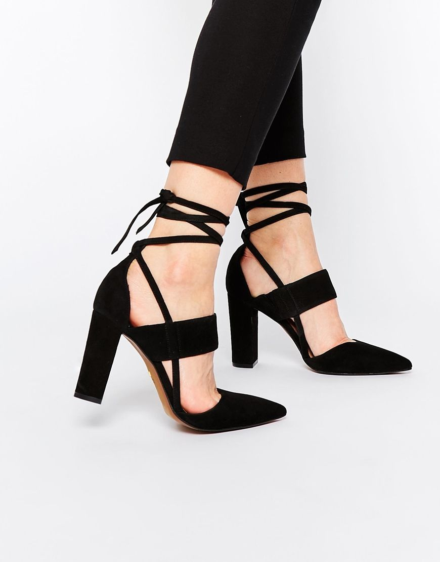 Shop Whistles Black Suede Ankle Tie Heeled Shoes at ASOS.