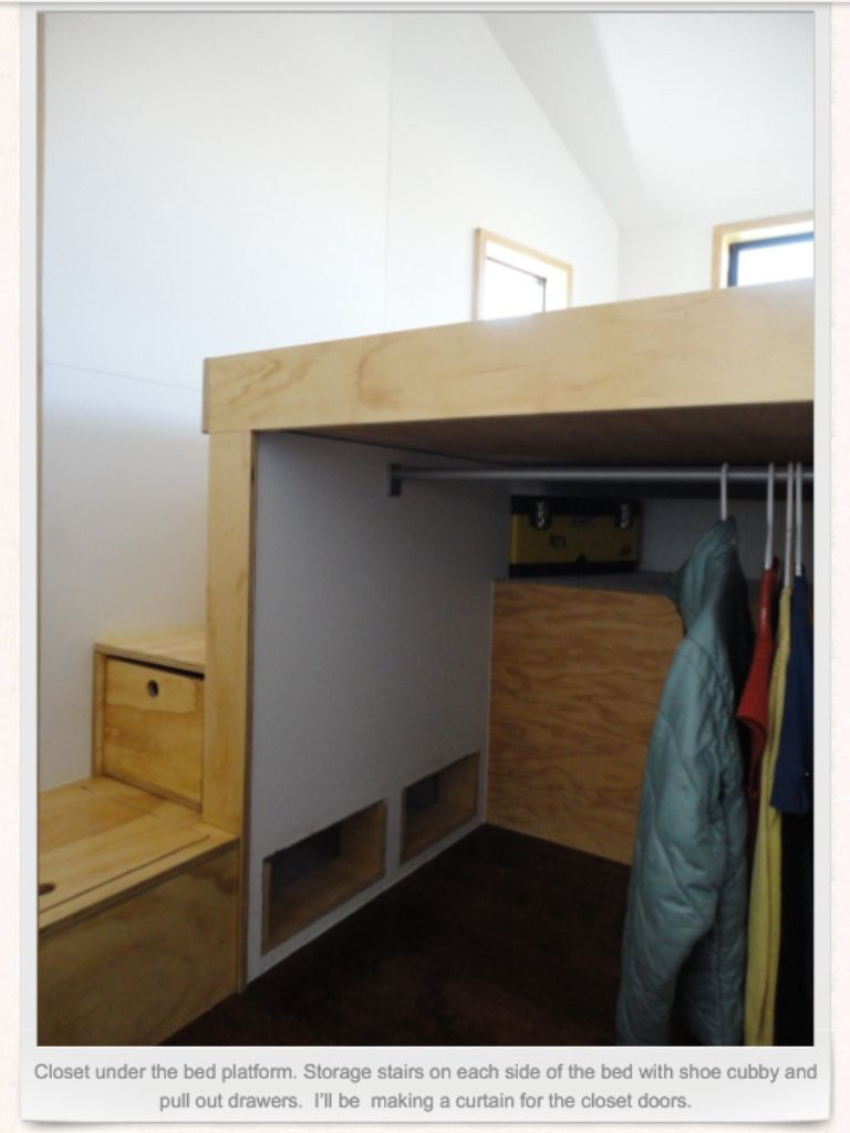 Closet storage under platform for bed area i would add for Bunk beds in closet space