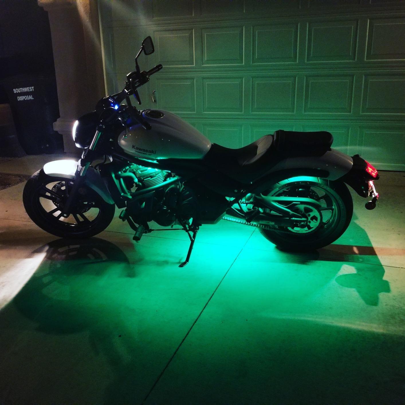 Green Underglow Kawasaki in 2020 Motorcycle led lighting