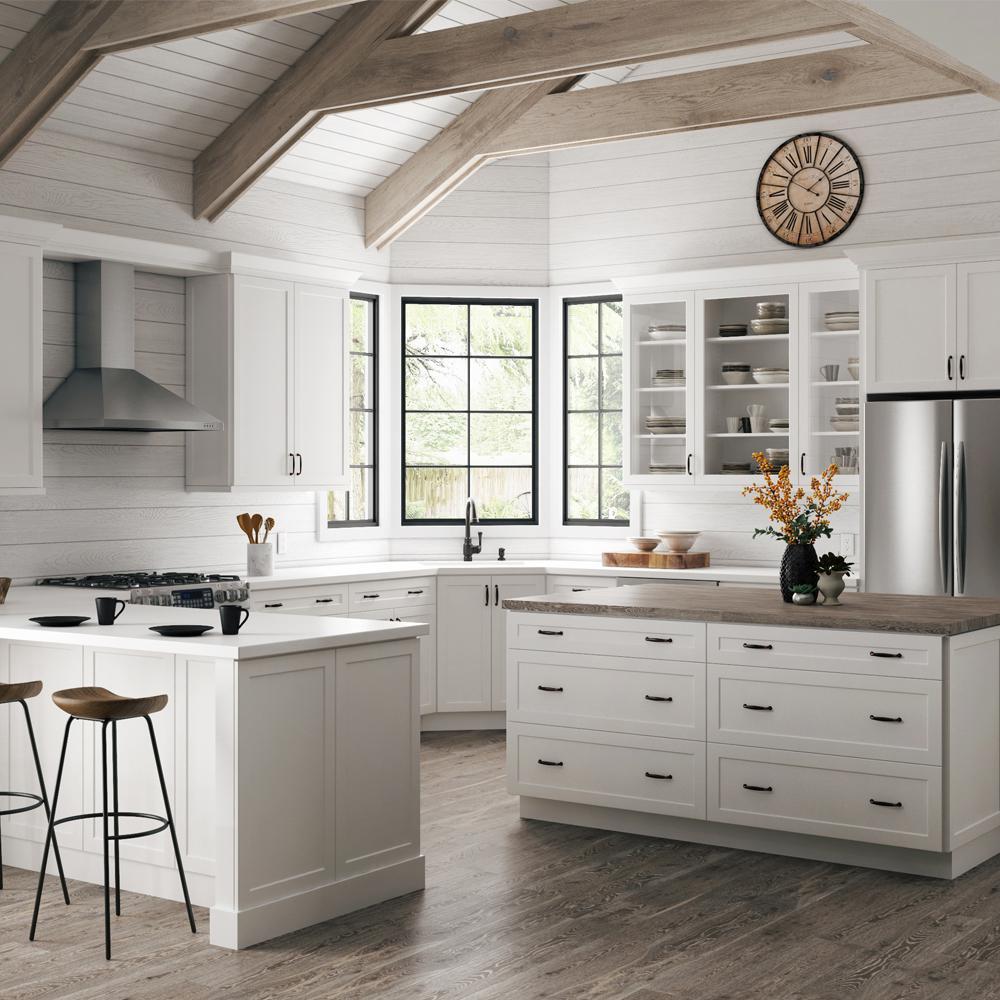 Hampton Bay Designer Series Melvern Assembled 18x34.5x23.75 in. Full Height Door Base Kitchen Cabinet in White #whiteshakercabinets