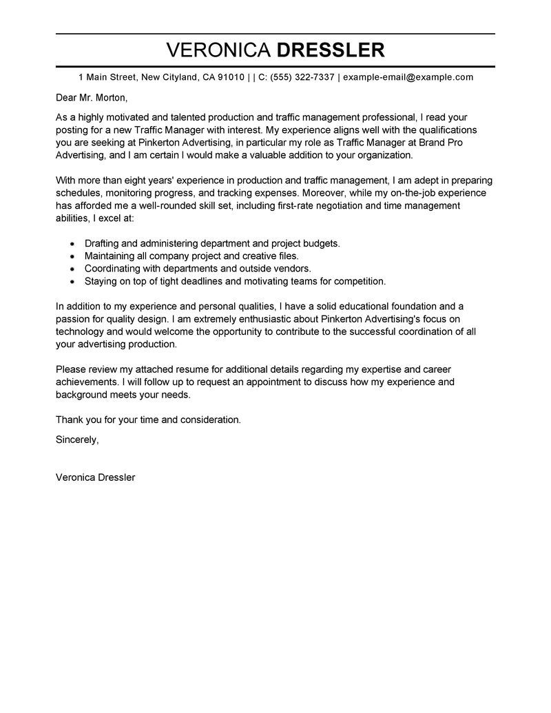 Manager Cover Letter Examples Amp Resources Myperfectcoverletter