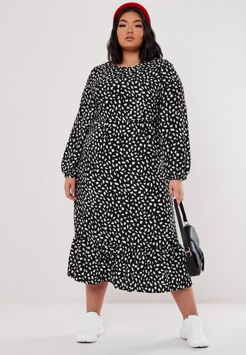 Missguided - Plus Size Black Animal Print Midaxi Smock Dress