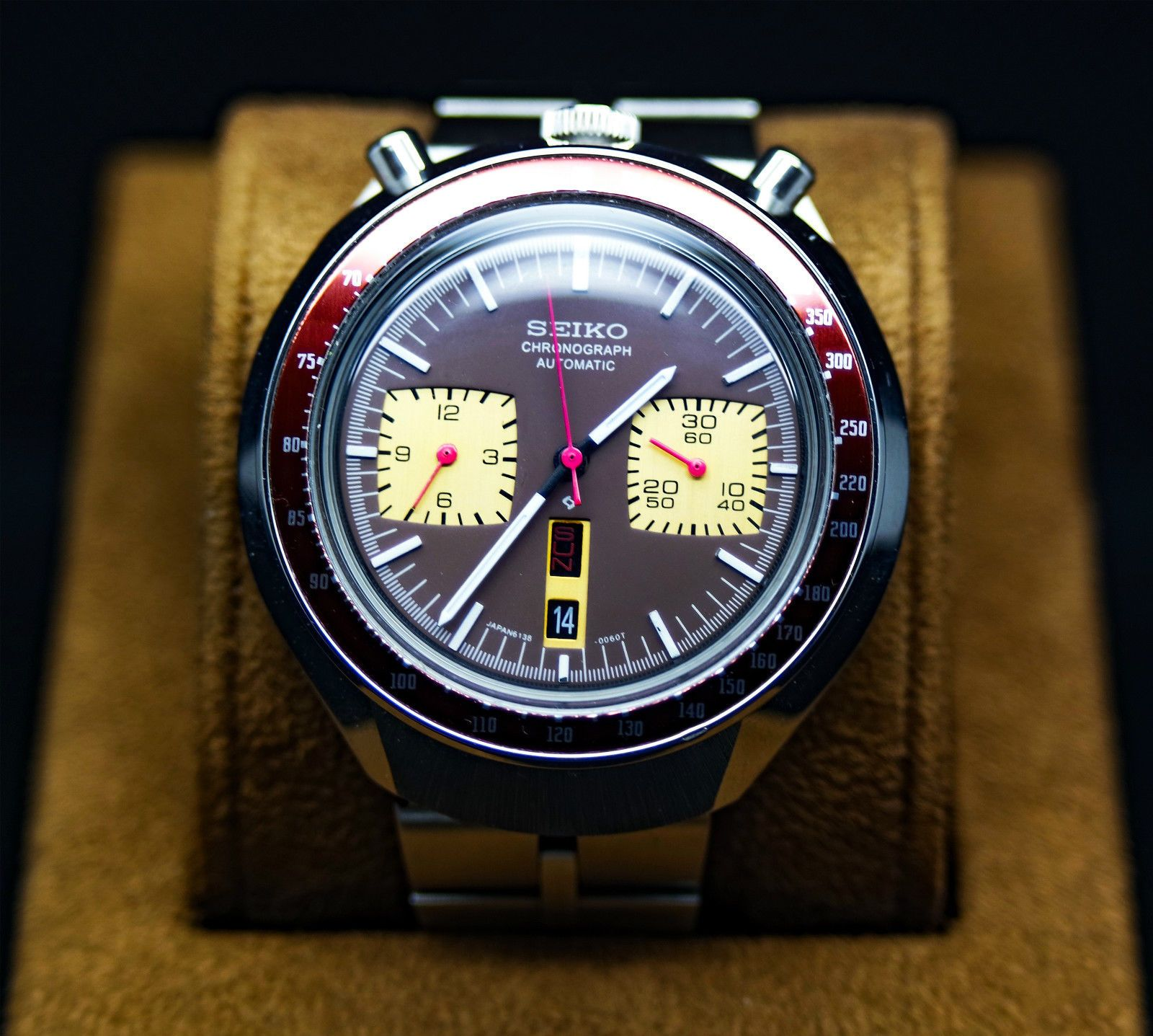 0cd1d727512 VINTAGE SEIKO BULLHEAD 6138-0040 CHRONOGRAPH BROWN DIAL AUTOMATIC WATCH in…