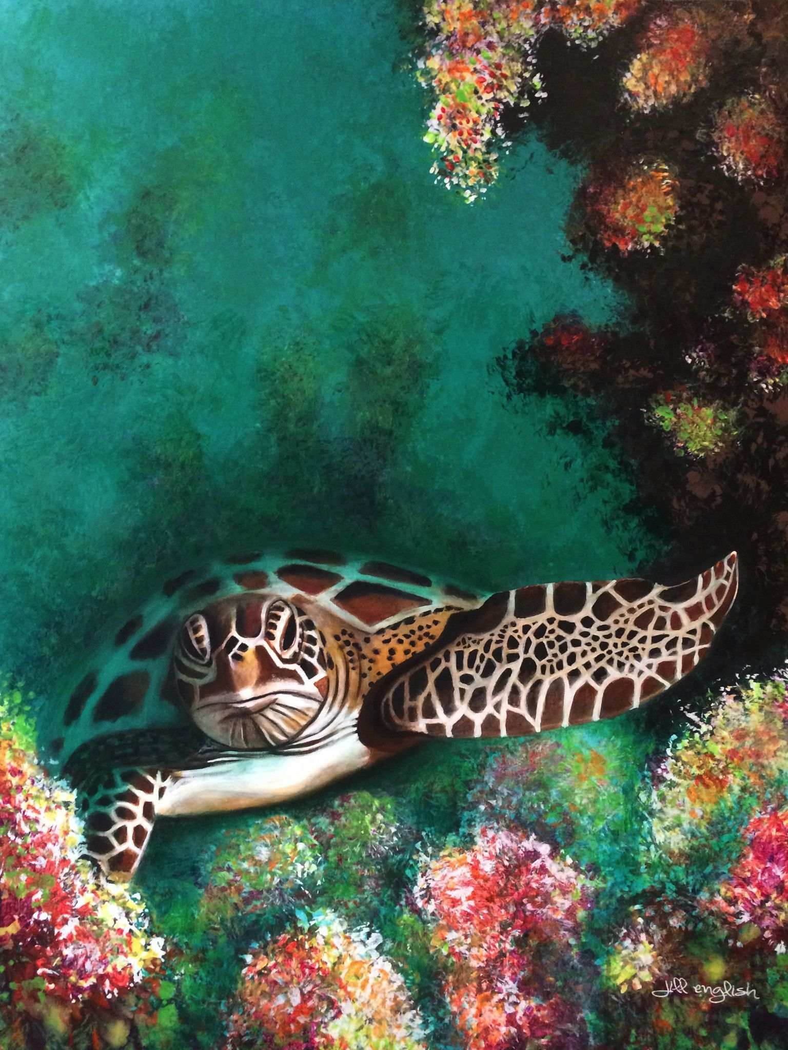 Original, tropical art. Underwater painting on gallery wrapped canvas. #seaturtle #painting                                                                                                                                                                                 More