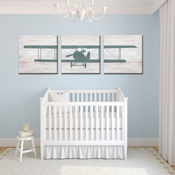 Airplane Nursery Canvas Airplane Nursery Boy Room Baby Boy Rooms