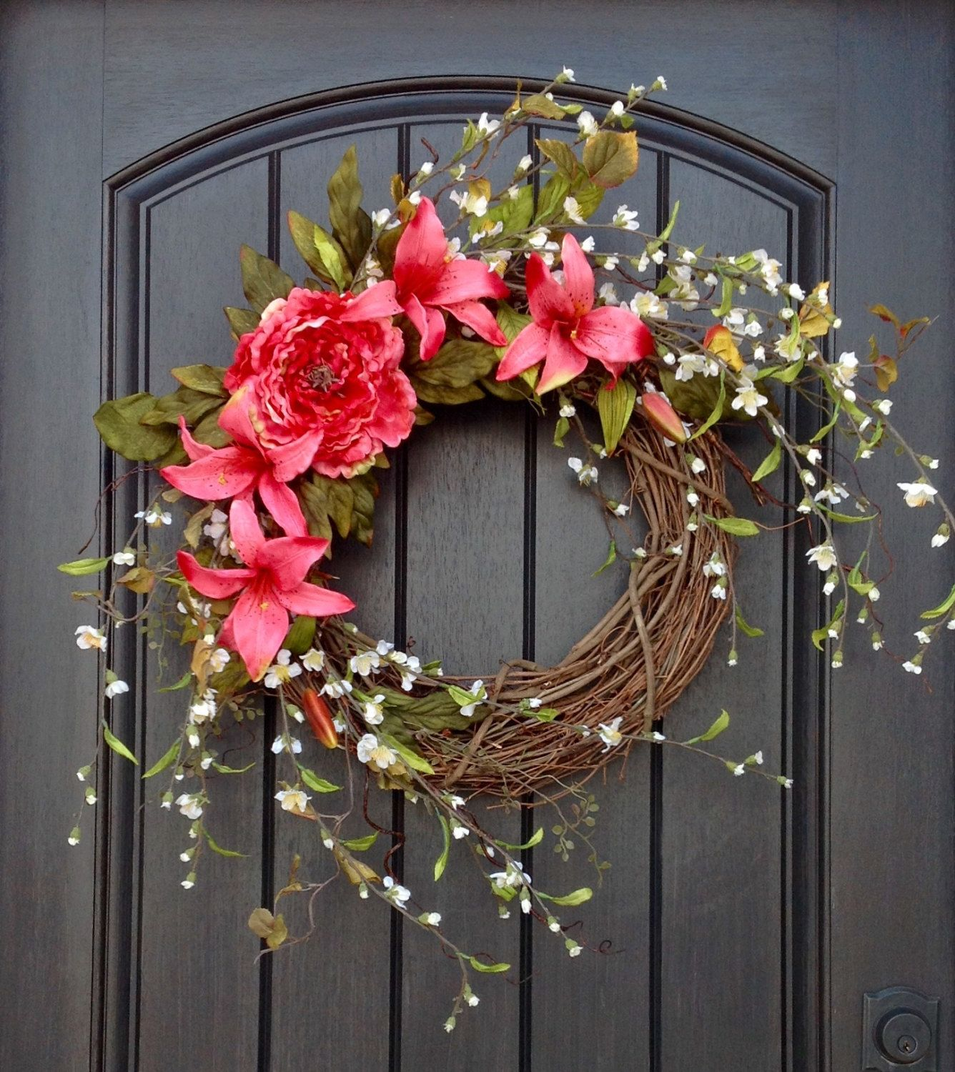Spring Wreath Summer Wreath Floral White Branches Door Wreath Grapevine  Wreath Decor Pink Lilies Pink Peony Wispy Easter Mothers Day By  AnExtraordinaryGift ...