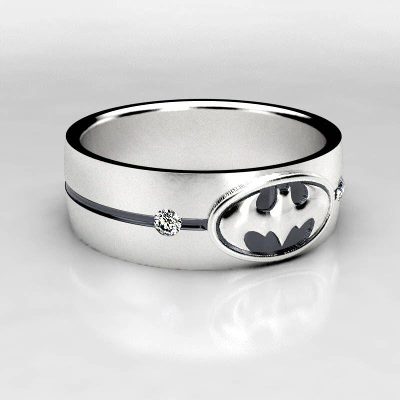 Batman Wide Silver Wedding Ring Batman Sterling Silver Wedding Band Size 9 Ring Size 10 Ring Mens Wedding Rings Geek Wedding Rings Gold Diamond Wedding Band