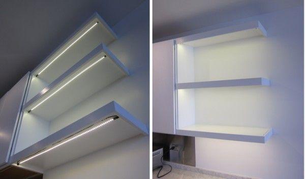 Led Kitchen Under Shelf Lighting Alongside Floating Storage