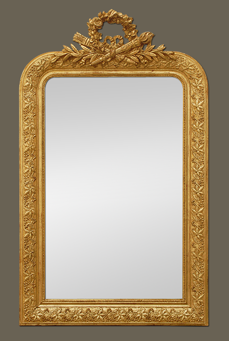 miroir ancien dor coquille noeud carquois et flambeau. Black Bedroom Furniture Sets. Home Design Ideas