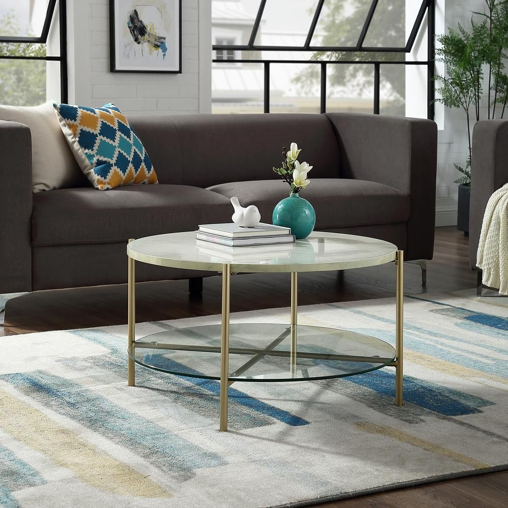 Walker Edison Furniture Company 32 In White Gold Medium Round Faux Marble Coffee Table With Shelf Hdf32srdctmgd The Home Depot Coffee Table Coffee Table With Shelf White Round Coffee Table [ 1000 x 1000 Pixel ]