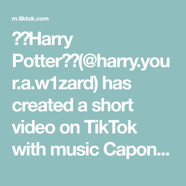 Harry Potter Harry Your A W1zard Has Created A Short Video On Tiktok With Music Capone Oh No Omg I Can T S Can T Stop Laughing Harry Potter Potterhead