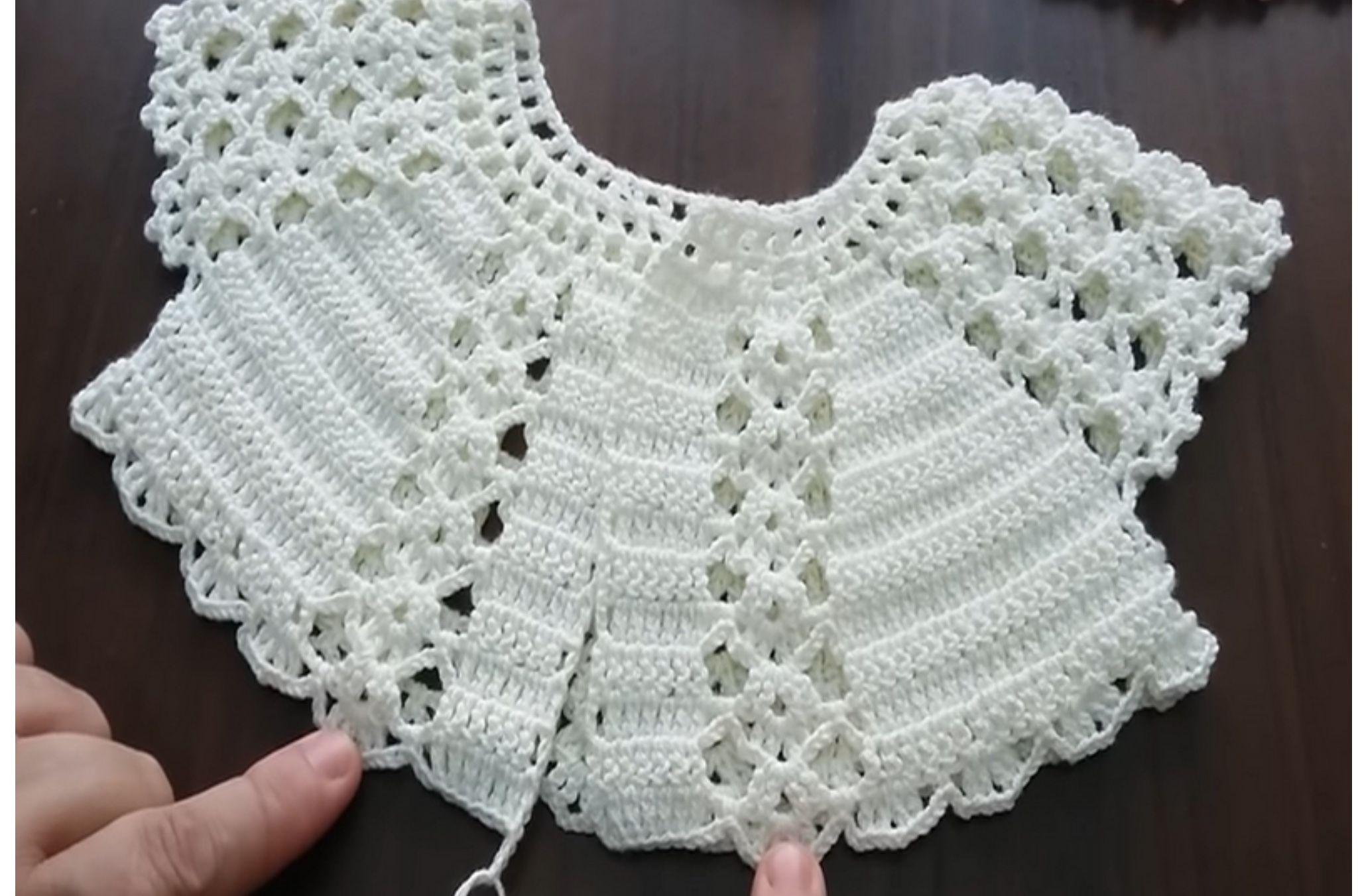 Pin de Ondina Porras en Vestidos niña croché   Crochet baby jacket ...