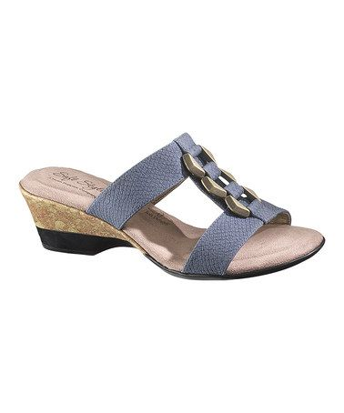 Take a look at this Blue Snakeskin Dalis Sandal - Women by Soft Style by Hush Puppies on #zulily today!