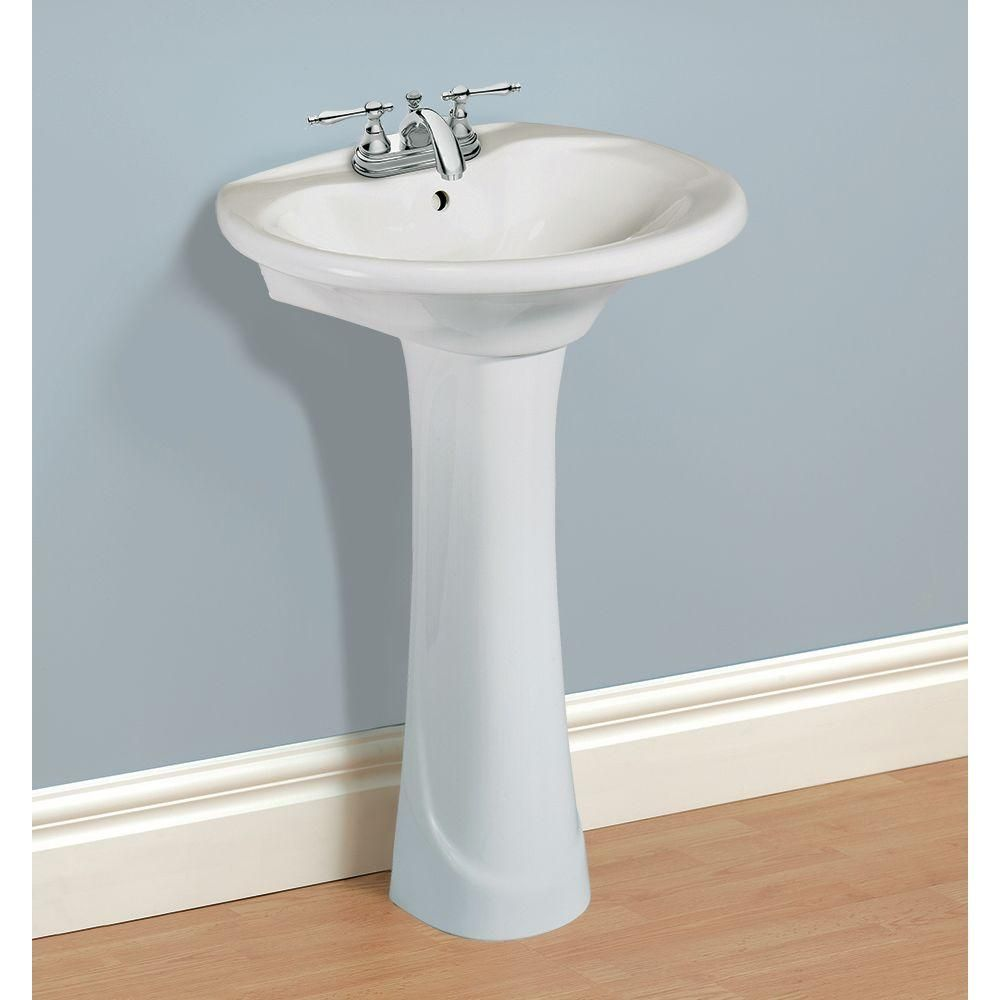 Glacier Bay Shelburne 20 In Pedestal Sink Basin In White F 300 4w