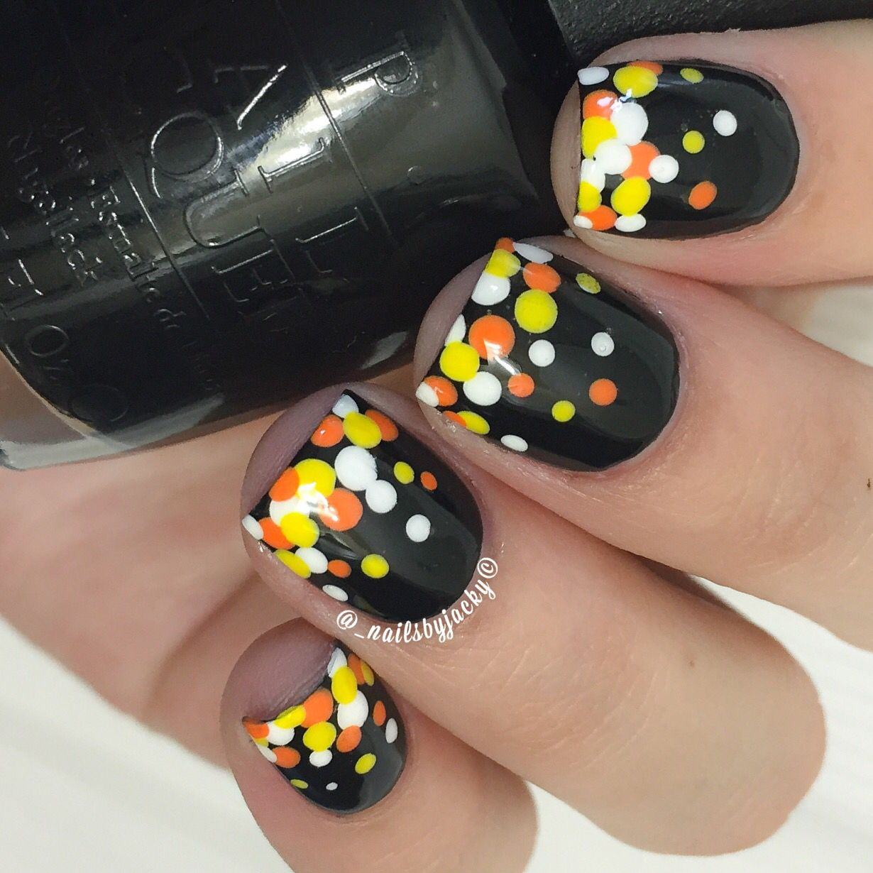 Candy Corn inspired dotticure Easy nail art for Halloween ...