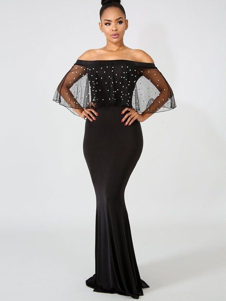 ae106e626896 JurllyShe Pearls Mesh Ruffles Mermaid Dress   African Mall   Dresses ...