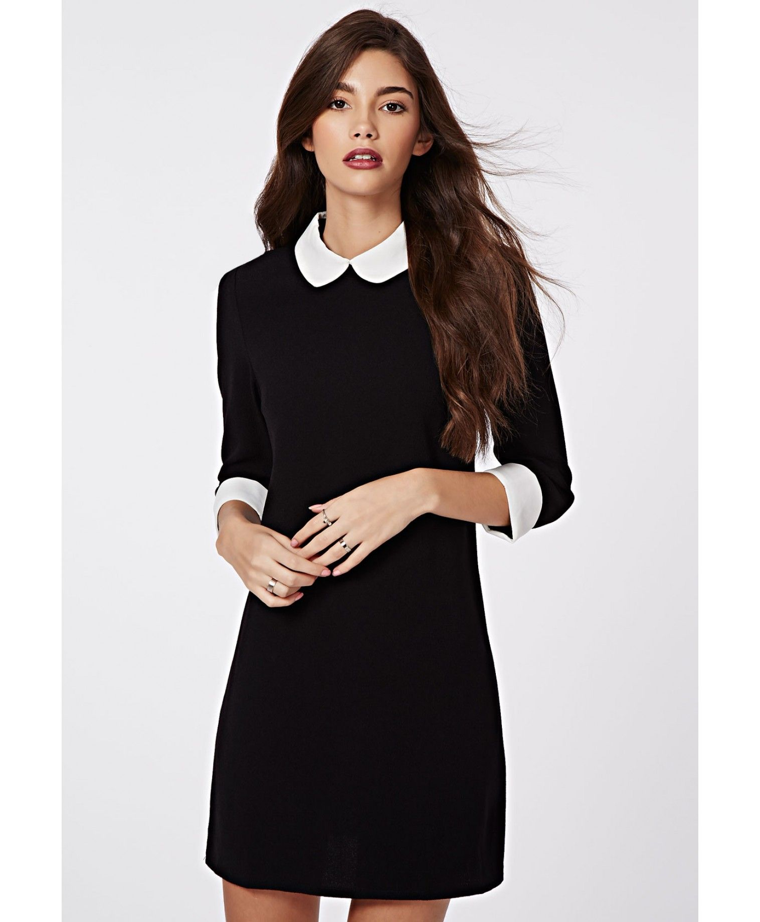 Peter Pan Collar Shift Dress Monochrome ...  e1ce3da0dada