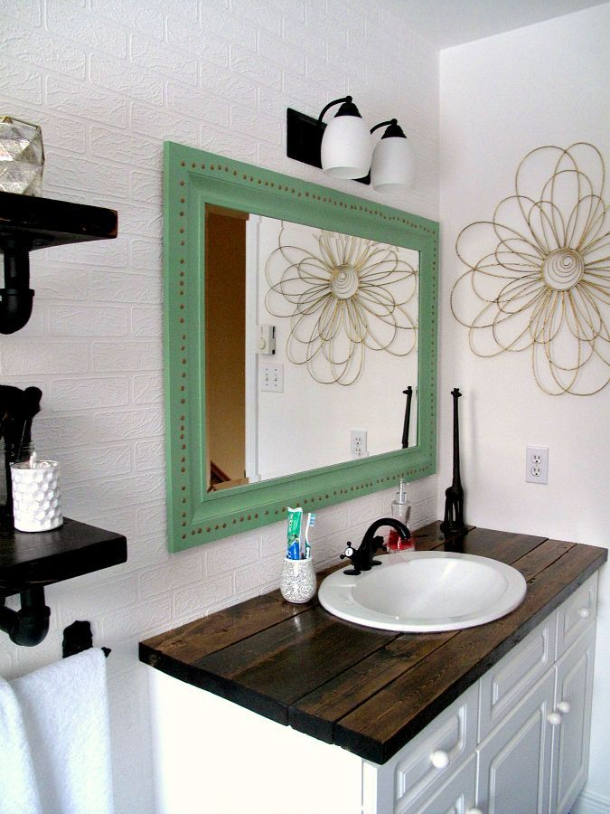 rustic wood vanity diy wood counter top bathroom makeover budget farmhouse rustic business. Black Bedroom Furniture Sets. Home Design Ideas