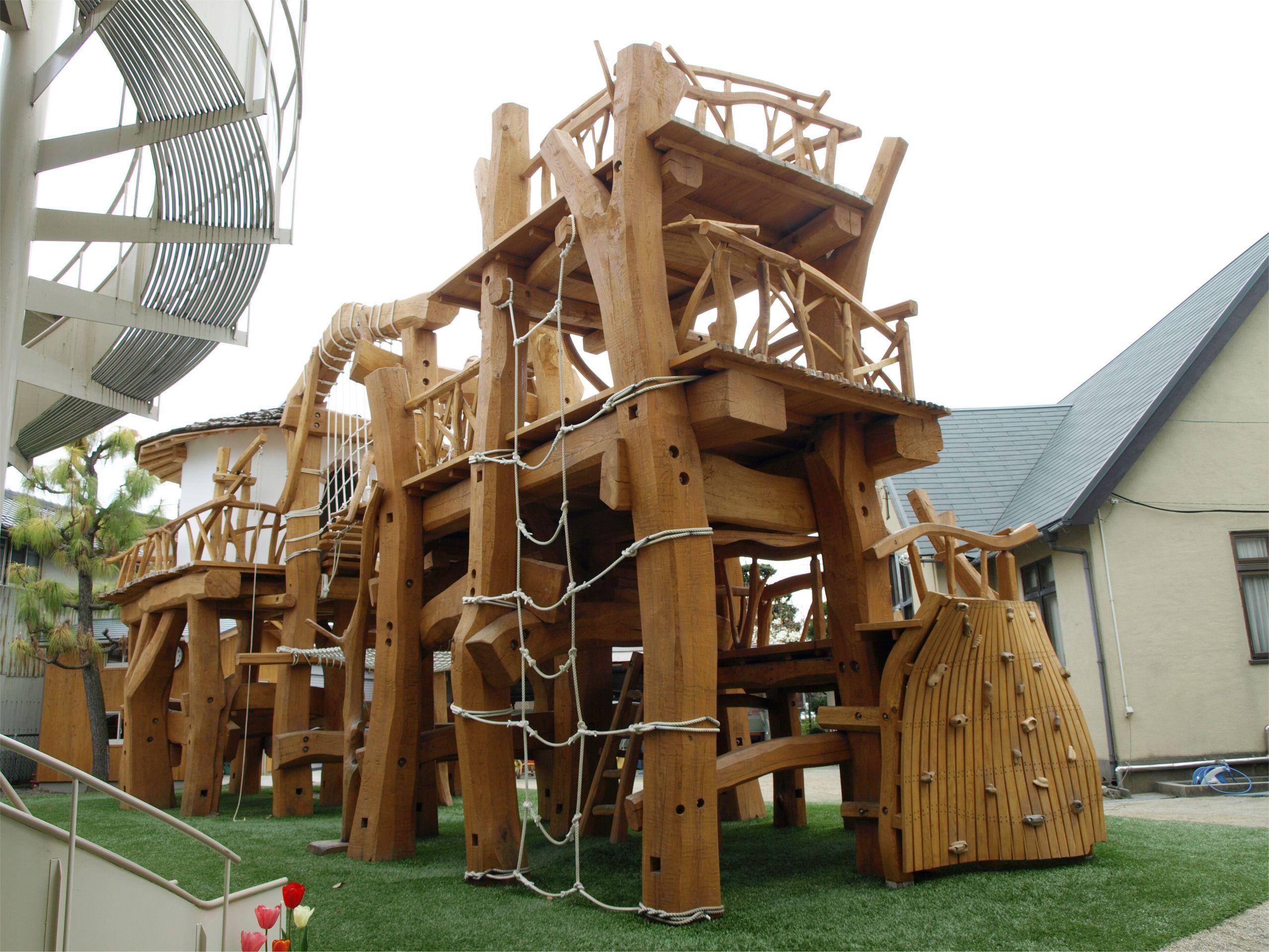 The Minakuchi Kindergarten S Wooden Playgroubd Wooden