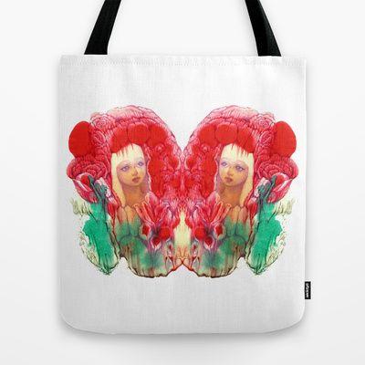 Flower Fairy Girl V Tote Bag by FlowerFairyArt - $22.00