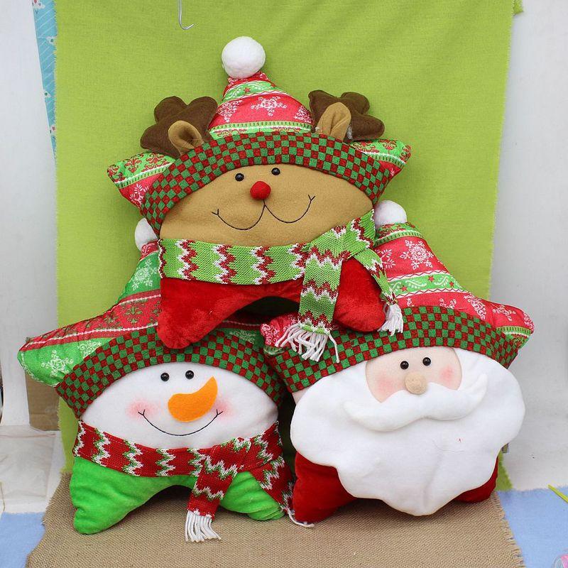 Christmas Five-pointed Star Santa Snowman Elk Pillow Cushion Xmas Home Decor