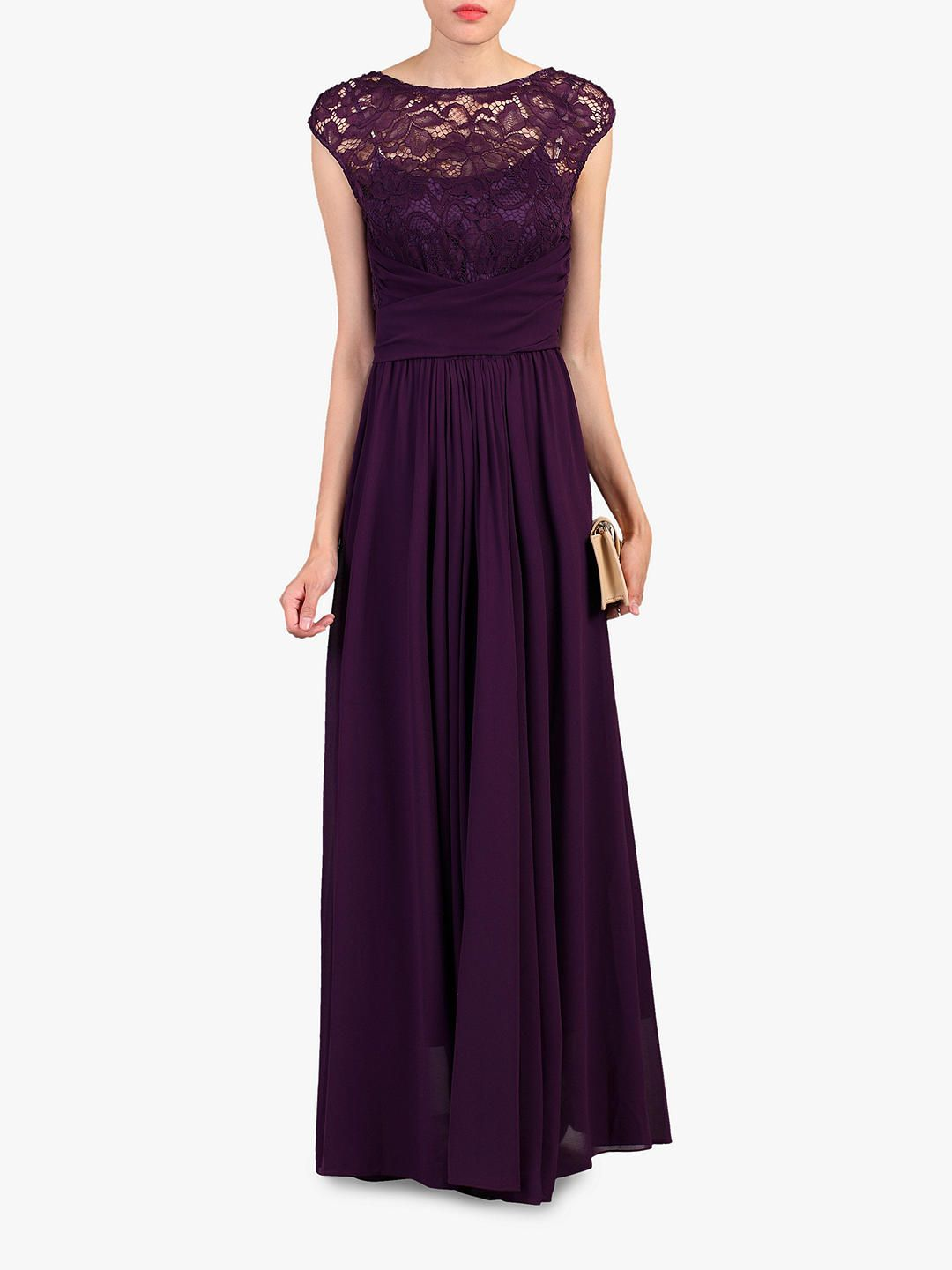 e9bf705b1d34 BuyJolie Moi Lace Bodice Pleated Maxi Dress, Dark Purple, 8 Online at  johnlewis.com
