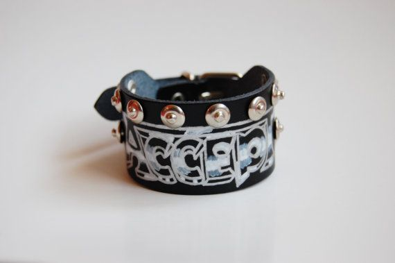 Hand painted ACCEPT genuine black leather by MetalManiacApparel