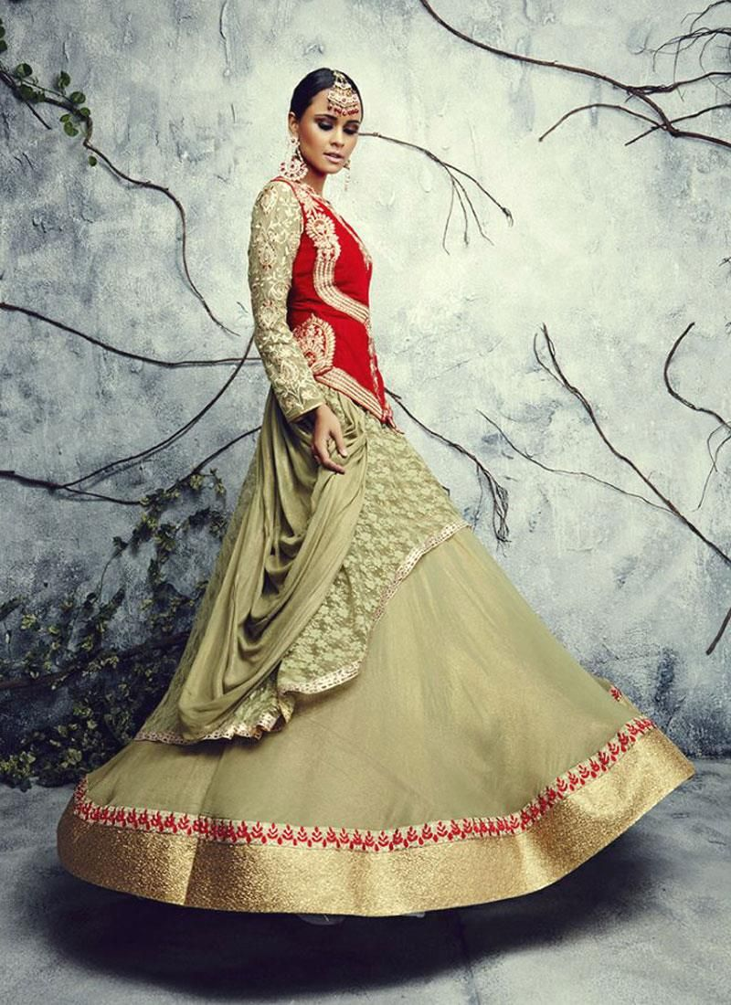 Haute Net Green and Red Patch Border Work A Line Lehenga Choli