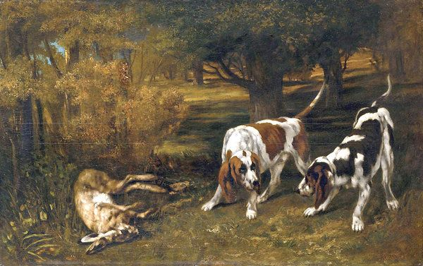Gustave Courbet,<em> Hunting Dogs With Dead Hare</em> (1857). Photo: courtesy Metropolitan Museum of Art, New York.