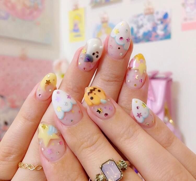20 Cute Halloween Short Nails For 2020 Ideasdonuts In 2020 Halloween Nails Kawaii Nail Art Kawaii Nails