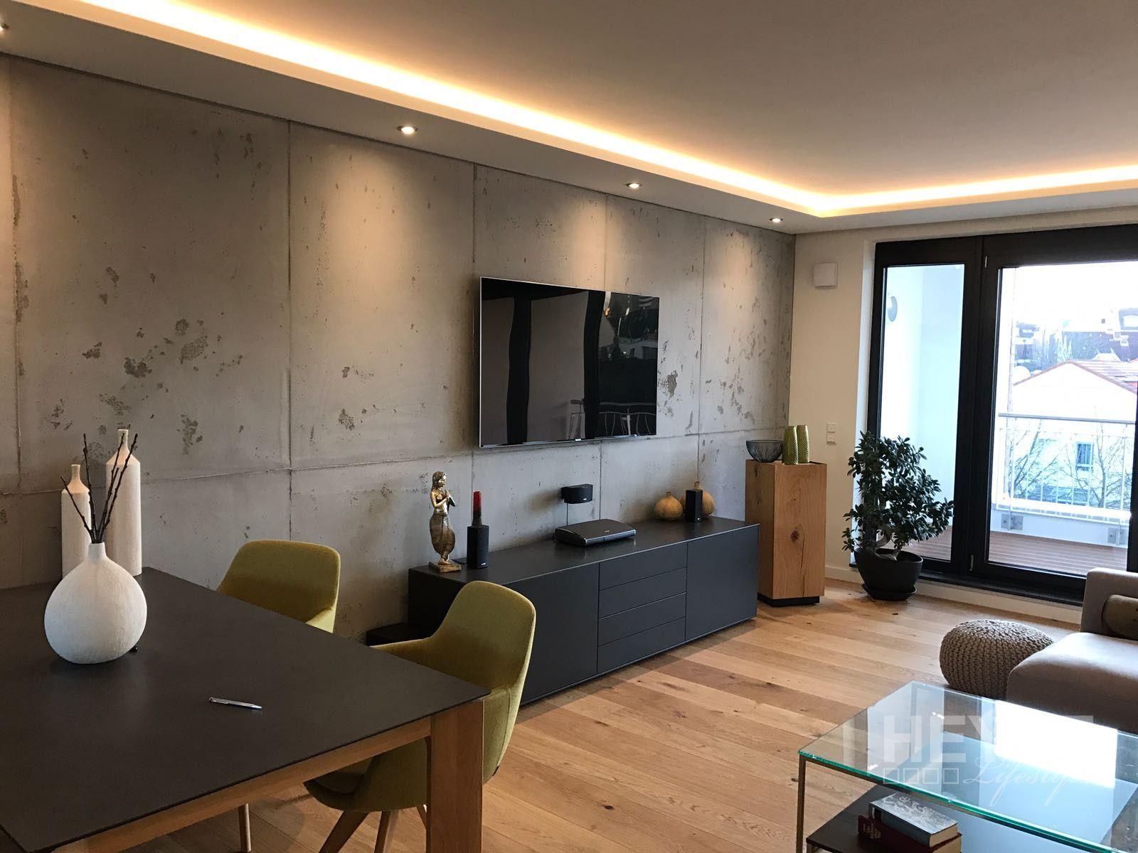 Wandgestaltung in Betonoptik und Holzbodenbelag Wohnung Pinterest