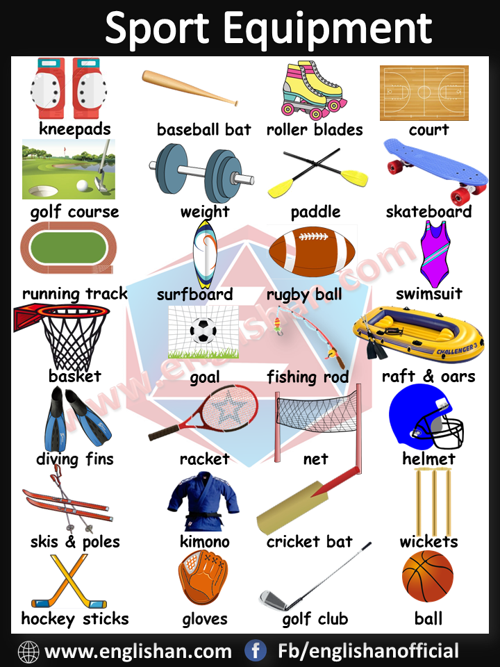Image result for sports equipment vocabulary