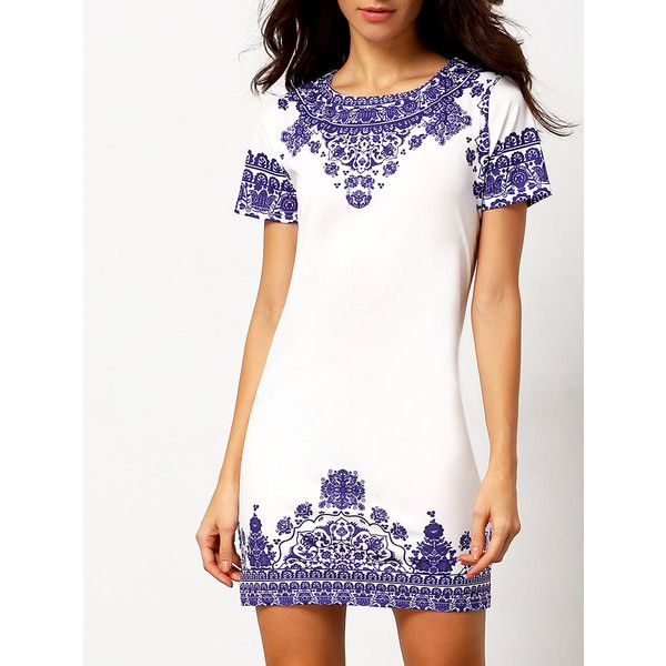 SheIn(sheinside) Vintage Print Dress (130 SEK) ❤ liked on Polyvore featuring dresses, multicolor, tribal print dress, white short sleeve dress, vintage style dresses, short dresses and vintage dresses