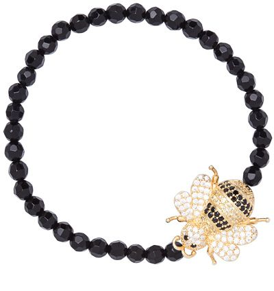 Bumble Bee Gold Onyx And Cz Bumblebee Stretch Bracelet on shopstyle.com