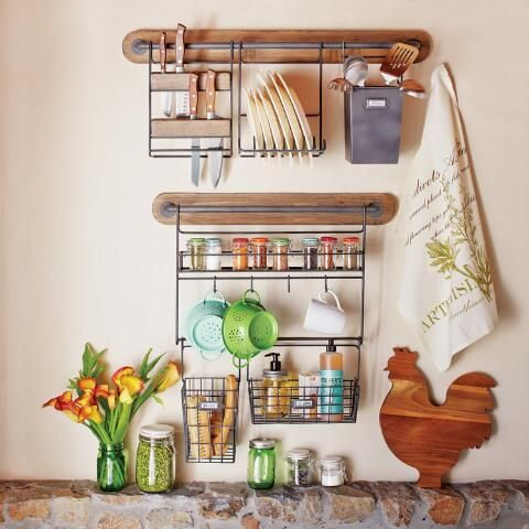 Modular Kitchen Wall Storage Spice Rack with Cup Hooks ...