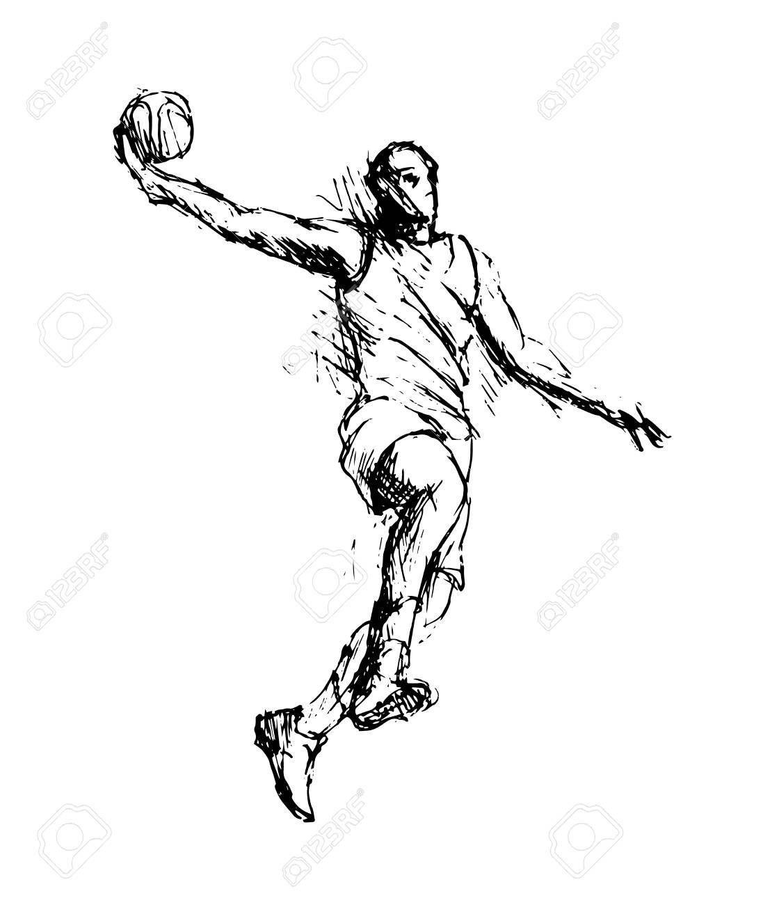 Hand Sketch Basketball Player Vector Illustration Aff Basketball Sketch Hand Illustration Vect Hand Sketch Basketball Players Vector Illustration