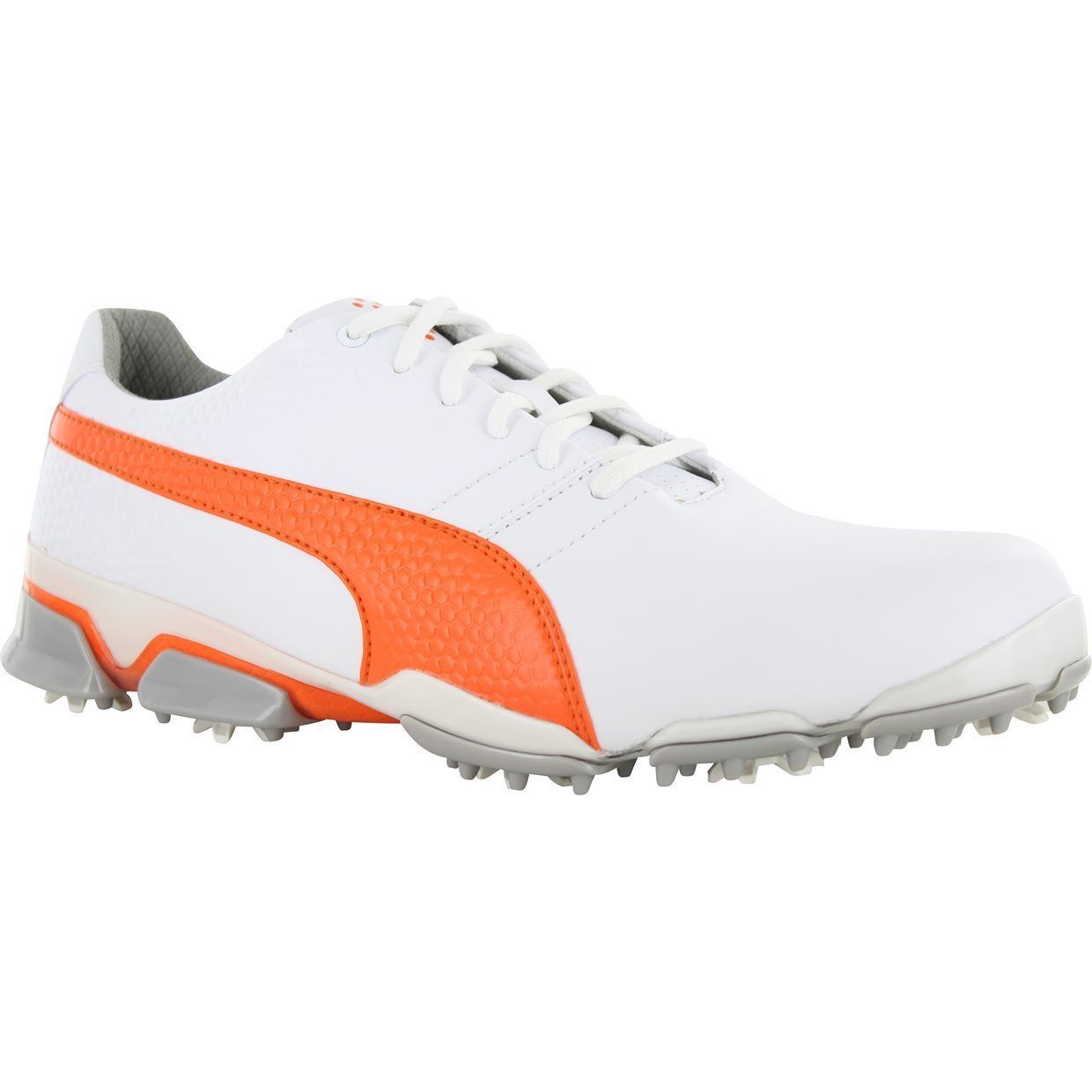 MENS PUMA TITANTOUR IGNITE GOLF SHOES 188656-01 WHITE/VIBRANT ORANGE/DRIZZLE